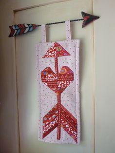 Dottie's new arrow holding its own quilted portrait. Arrow Decor, Friend Crafts, Dear Friend, Christmas Stockings, Brave, Quilting, Vibrant, Colour, Portrait