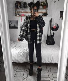 Indie Outfits, Teen Fashion Outfits, Cute Casual Outfits, Retro Outfits, Vintage Outfits, Cute Grunge Outfits, Emo Girl Fashion, Hipster Outfits For Women, Grunge School Outfits