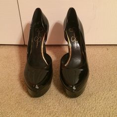 Must go!!!!  Jessica Simpson Black pumps Jessica Simpson Black platform heels. Super comfortable because they have the platform. I wore them once for my sorority's recruitment and they are just something I never got around to wearing again. They have a little scuff on the toe but it isn't noticeable and nothing a little black nail polish couldn't cover up. Jessica Simpson Shoes Heels