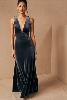 V neck blue velvet dress by Jenny Yoo from BHLDN #velvetdress #bridesmaids