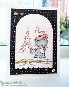 le Meow Card by Yukari Yoshioka | Newton Dreams of Paris stamp set by Newton's Nook Designs #newtonsnook #paris #cat