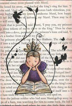 girl reading by Emma Block Book Page Art, Book Pages, Book Art, Reading Art, Girl Reading, I Love Books, Good Books, Newspaper Art, Art Journal Inspiration