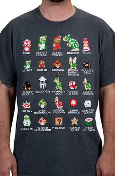 This Super Mario Bros. shirt shows 8-bit images of characters from the classic…