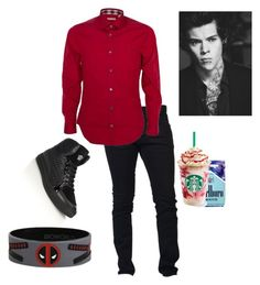 """""""Harry AU Outfit (#3)"""" by imani-loves-1d ❤ liked on Polyvore featuring Versace, Dsquared2, Burberry, men's fashion and menswear"""