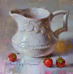Creamer and Strawberries by Elena Katsyura Oil ~ 6 x 6