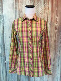 Panhandle Slim Plaid Western Shirt Rhinestones Pink Green Pearl Snaps sz S EUC! #PanhandleSlim #Western