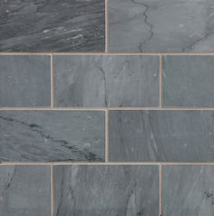 Gorgeous blue grey stone subway tile from Walker Zanger. We imagine this with a charcoal colored grout...wow!