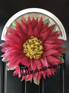 Holiday wreath from my new collection - by DeanMichaelDesigns. Beautiful cranberry poly burlap with a gold tinsel center. Approximately 22-23 inches in diameter and about 5 inches deep. Flower wreath for Fall, Christmas, Holidays, Gifts. Simple. Elegant. Whimsical. Handmade and ready to ship!