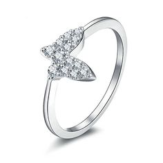 Gnzoe Schmuck Damen 925 Sterling Silber Ringe Verlobungsringe Damenringe Charme Eheringe Schmetterling Form mit Zirkonia Gr.60 (19.1)