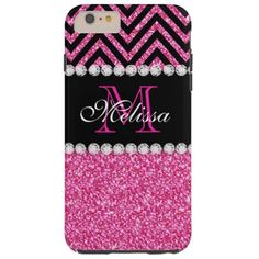 Pink Glitter Black Chevron MonogramMED Tough iPhone 6 Plus Case Pink Glitter Black Chevron Monogram Version 2. Elke Clarke© 2013. Original design. Available in other color combinations in our store Monogramgallery © at Zazzle. MODERN HOT PINK GLITTER (PRINTED PHOTO EFFECT) WITH BLACK AND PINK CHEVRON PATTERN, MONOGRAMMED WITH YOUR NAME, YOUR INITIAL OR MONOGRAM ON A BLACK STRIPE OR BAND WITH A BORDER OF PRINTED WHITE DIAMONDS. TRENDY, CHIC COOL CUTE DESIGN FOR HER, THE TRENDSETTER, THE ...