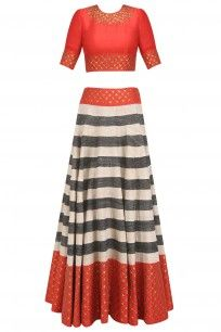 Red, Beige and Charcoal Striped and Sequinned Lehenga Set