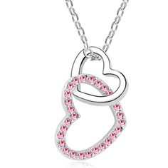 Hanging Double Heart Florence Crystal Necklace