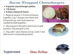 Hamburger cheeseburger au fromage Microwave Grill, Microwave Recipes, Grill Recipes, My Recipes, Beef Recipes, Cooking Recipes, Favorite Recipes, Tupperware Consultant, Bacon Wrapped