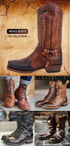 FREE SHIPPING on orders US$69 / Buy 3 Get Extra 8% OFF Code: SAVE8 / Buy 2 Get Extra 5% OFF Code: SAVE5 Vintage Leather, Vintage Men, Leather Men, Gents Fashion, Golf Fashion, Mens Boots For Sale, Men's Shoes, Shoe Boots, Der Gentleman