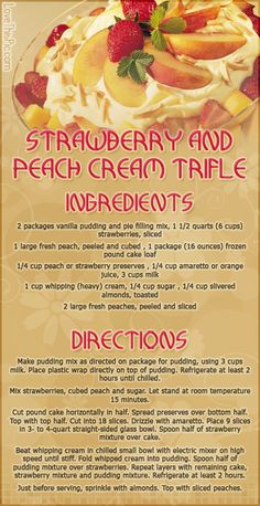 Strawberry & Peach Cream Trifle desert recipe recipes ingredients instructions desert recipes easy recipes cupcake recipes recipe ideas recipes for kids recipes to try mothers day recipes