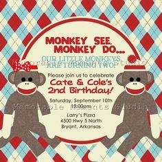 PRINTABLE INVITATIONS Sock Monkey Party for Twins - Custom 5x5 Printable - Memorable Moments Studio