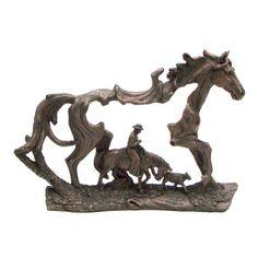 Bronze Look Horse and Cowboy Sculpture 049-13017 | Buffalo Trader Online