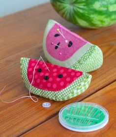 Watermelon Pincushion Free Pattern and Tutorial