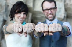 stay true - wedding couple - marriage tattoo - finger tattoos | InkedWeddings.com