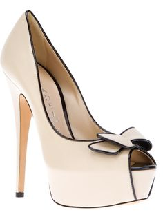 "Casadei Open Toe Pump.  This is a fabulous shoe. Could be 6"" heel but i love the black trim on beige/nude.  Comment by Peter Greenaway from www.bridalshoesuk.co.uk"