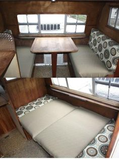 How to make easy vintage trailer dinette cushions. Step by step pics on my blog.