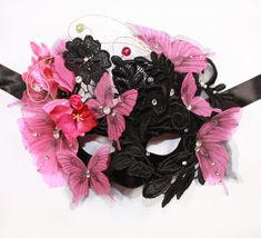 Fuchsia Butterfly Mask, Black Lace Masquerade Mask, Halloween Costumes Headpiece, Gothic Venetian Mask for Luxury Masks by Elven Design Art Butterfly Halloween Costume, Gothic Halloween Costumes, Carnival Fashion, Lace Masquerade Masks, Butterfly Mask, Lace Mask, Costume Hats, Mask Design, Silk Flowers