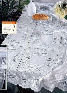 Elegant Filet Crochet Tablecloth For Crochet Tablecloth Pattern, Crochet Fabric, Tablecloth Fabric, Thread Crochet, Filet Crochet, Crochet Doilies, Crochet Lace, Crochet Stitches, Tablecloths