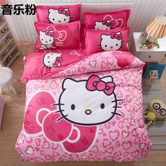 Home Textile Hello Kitty Bedding Set Cartoon Cotton Bed Set for Kids Include Duvet Cover Bed Sheet Pillowcase - Pink Bedding Set, Duvet Bedding Sets, Girls Bedding Sets, Cheap Bedding Sets, Cotton Bedding Sets, Linen Bedding, Bed Linens, Black Bedding, Unique Bedding