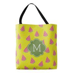 Cool Watermelons Pattern Monogram Tote Bag