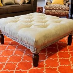 DIY tufter ottoman- from old square coffee table