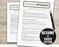 PROFESSIONAL Resume Template  Instant Download by BusinessBranding