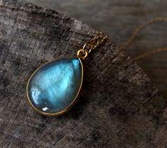 AAA labradorite necklace green blue gemstone by estherdobsonart