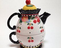 Teapot & Cup Set Cherries Flowers Re-purpose Craft Decor Planter For the Home Gift for Mom