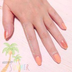シンプルサマー。 #nail #nails #polish #orange #simple #summer #ネイル #ポリッシュ #オレンジ #シンプル #サマー #nailcare #1daynail #onedaynail #menu #ENisI #japan