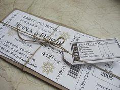 Boarding Pass Wedding Invitation set First Class por JennaBdesigns