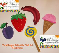 The Very Hungry Caterpillar Food Items grea photo props, candy table decor, decorations, use in your kids room after the party!