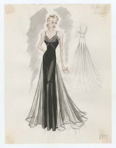 Bergdorf Goodman sketches : Mooring 1937-1939. 1937-1939. Metropolitan Museum of Art, New York. Costume Institute. Bergdorf Goodman sketches, 1929-1952 Costume Institute. #musthave #lifestyle | I feel really pretty in this dress.