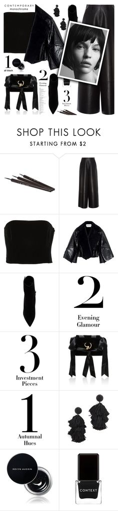 """""""Monochrome: Black everything"""" by jan31 ❤ liked on Polyvore featuring Lanvin, Kitx, Paul Andrew, J.W. Anderson, Sachin + Babi, Kevyn Aucoin, Context and allblack"""
