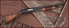 Great vintage look to this Mossberg it looks just like a Winchester Model Mossberg Shotgun, Mossberg 500, Tactical Shotgun, Zombie Survival Guide, Apocalypse Survival, Combat Shotgun, Firearms, Shotguns, Shooting Guns