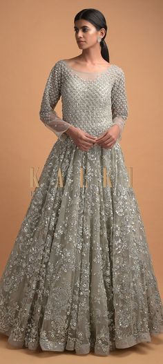 Smoke grey ball gown in net adorned with sequins, gotta patches, pearls and kundan in floral pattern. Bodice enhanced with floral buttis. Reception Gown, Wedding Function, Full Sleeves, Illusion Neckline, Bridal Gowns, Bodice, Ball Gowns, Patches, Outfit Ideas