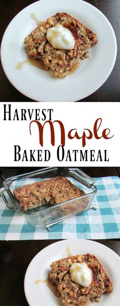 This Harvest Maple Baked Oatmeal is hearty, delicious and super customizable.  Dried fruit and oatmeal come together with a kiss of maple syrup for a warm and hearty breakfast.