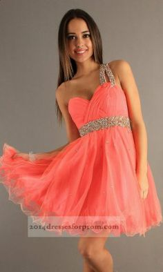Dave and Johnny 6726 Short Coral One Shoulder Prom Dress $130
