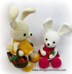 Bunnies in pretty dresses. Free patterns and video tutorials