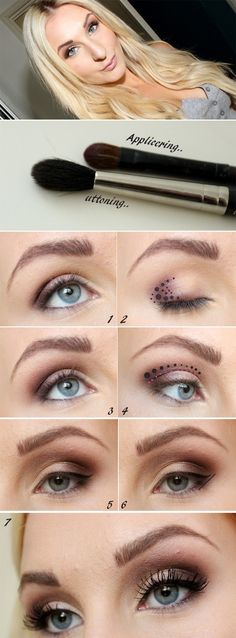 Eye makeup tutorial for blue eyes. (Also nice for green, but dont go overboard with pink):