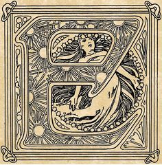 """Initial """"E"""" (modified) by Mucha - from 'Le Pater' (Our Father) 1889 