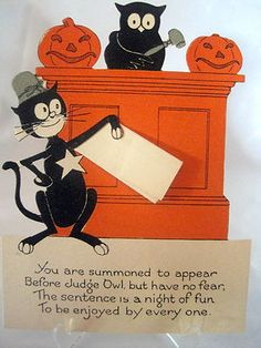 Vintage Halloween Invitation Party The Paper Cat Is Holding Reads