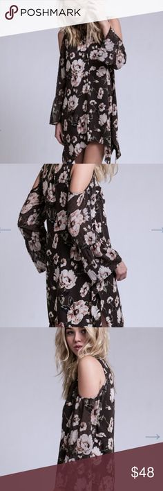 ⚜NEW ARRIVAL⚜FLORAL GRAY COLD SHOULDER DRESS ⚜NEW ARRIVAL ⚜⚜BLUE PEPPER ⚜WATER COLOR COLD SHOULD DRESS. ADORED WITH A SPLATTERED FLORAL PATTERN.  THIS FLOWEY DRESS FEATURES A LACE UP DESIGN. BILLOWY SLEEVES. LINING. ASYMMETRICAL HEM. BLUE PEPPER IS SOLD IN ALL MAJOR DEPARTMENT STORES. Blu Pepper Dresses Mini