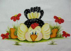 pano de copa com pintura estilo folk de galinha dangola esparramada
