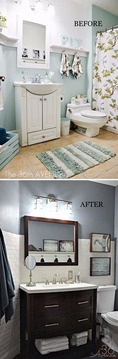 Modern Bathroom Makeover With Metallic Accents, Dark Furniture And White Subway Tile. (Like the light fixture. Diy Bathroom Remodel, Bathroom Renovations, Bathroom Makeovers, Dark Furniture, Bathroom Furniture, Bathroom Cabinets, Modern Bathroom, Small Bathroom, White Bathroom