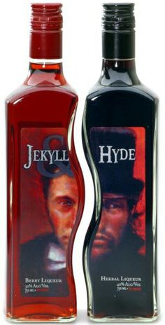 Get together on Halloween. Spooky pairings – Jekyll and Hyde liqueur Clever Packaging, Beverage Packaging, Bottle Packaging, Packaging Design, Alcohol Bottles, Liquor Bottles, Drink Bottles, Vodka Bottle, Cigars And Whiskey